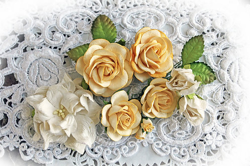 Honey Wild Roses,Gardenia & Leaves Flower Set