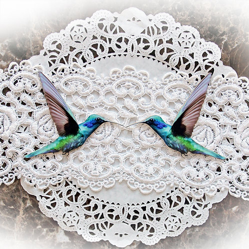 Printed Beautiful Board Small Magical Hummingbirds Chipboard