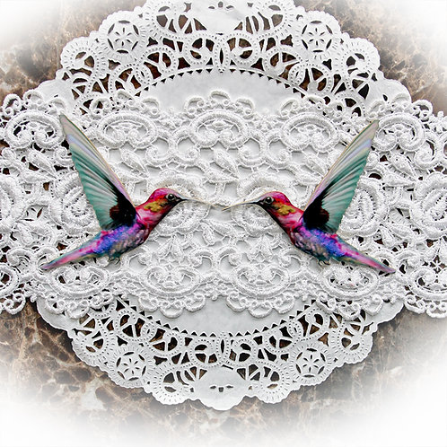 Printed Beautiful Board Tiny Majestic Hummingbirds Chipboard