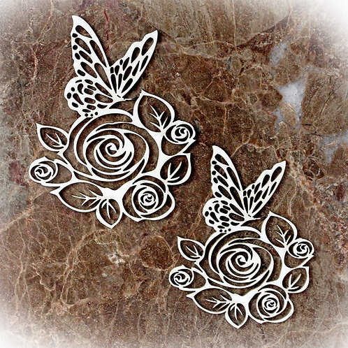 Beautiful Board Large Butterflies And Roses Laser Cut Chipboard Set Of Two