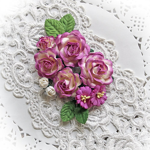 Magenta And White Roses And Leaves Mulberry Paper Flower Set