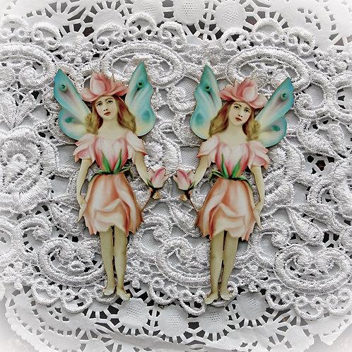 Printed Beautiful Board Small Rose Petal Fairy Laser Cut Chipboard
