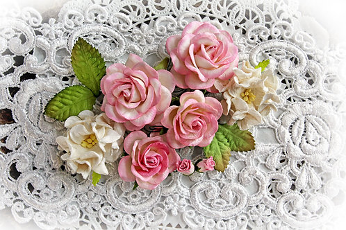 Pink & White Roses,Gardenias & Leaves Mulberry