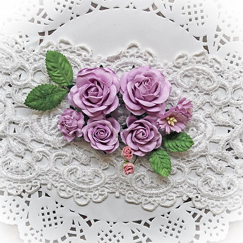 Purple Roses And Leaves Mulberry Paper Flower Set