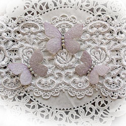 Sweet Pea Lavender Premium Paper Glitter Glass Butterflies