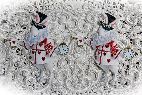 Large White Rabbit With Red Hearts Premium Paper Die Cuts