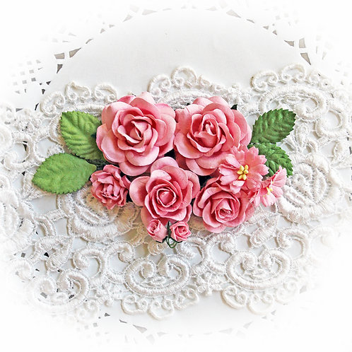 Rose Pink Roses And Leaves Mulberry Paper Flowers