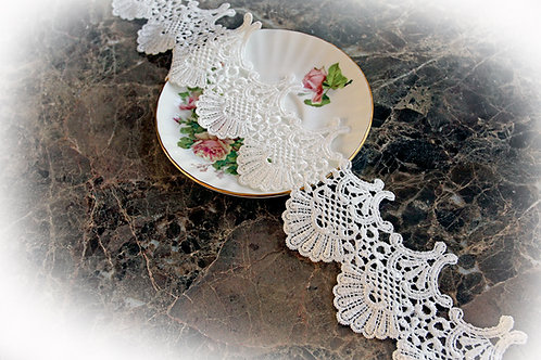 Scallop Shell Lace~White 3.5 Inch Wide Voile