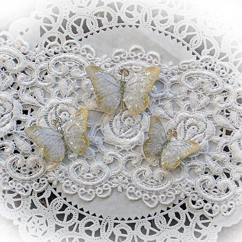 Pale Gold Fairy Dust Premium Paper Glitter Glass Butterflies