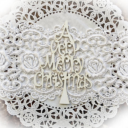 Beautiful Board Medium A Very Merry Christmas Tree Chipboard