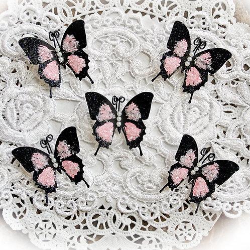Tiny Treasures Pink Glitter Glass Premium Paper Butterflies
