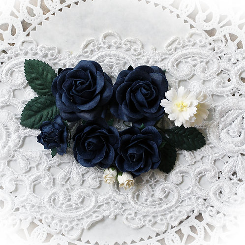 Navy Blue Roses and Leaves Mulberry Paper Flowers