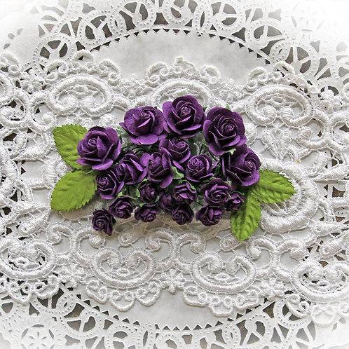 Mini Purple Mulberry Paper Roses and Leaves Set