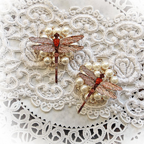 Suncatcher Burnt Orange Premium Paper Dragonflies