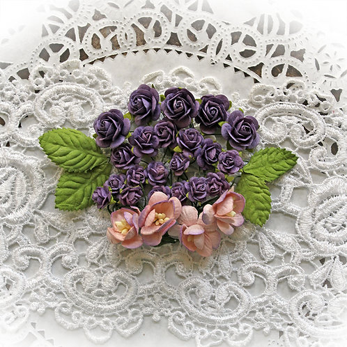 Mini Heather Purple Mulberry Paper Spring Mix Roses And Cherry Blossoms Set