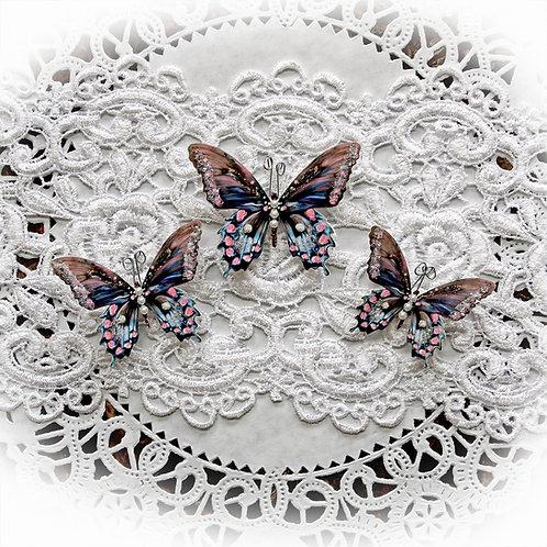 Shabby Chic Premium Paper Glitter Glass Butterflies