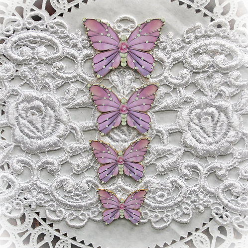 Printed Beautiful Board Pink Gracie Butterflies Laser Cut Chipboard Set