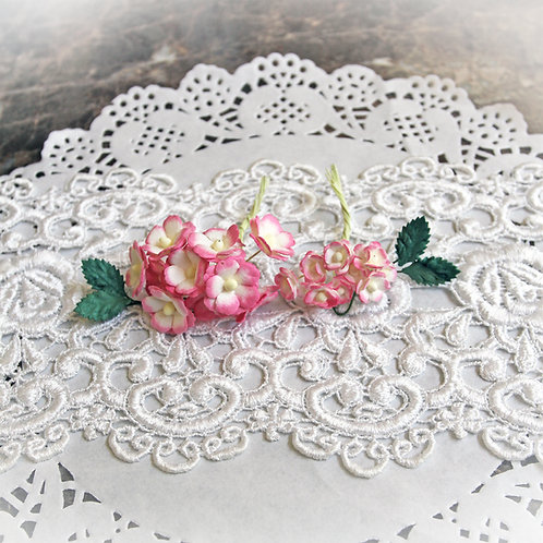 Itty Bitty Blossoms and Leaves Dark Pink And White Mulberry Paper Flowers