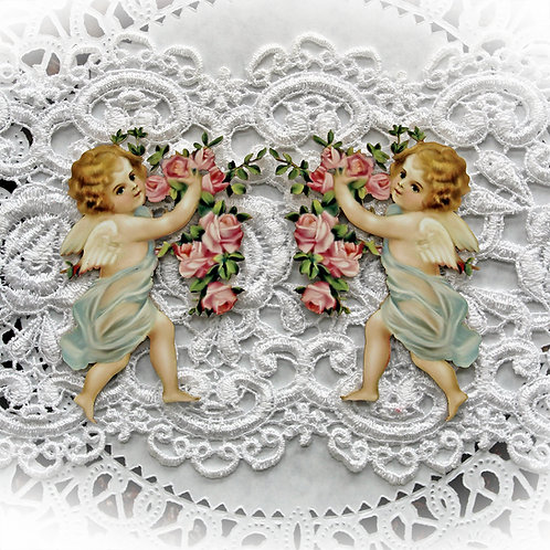 Printed Beautiful Board Romance And Roses Large Blue Cherub