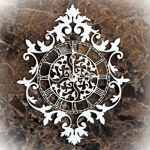 Beautiful Board Small Ornate Flourish Clock Laser Cut Chipboard