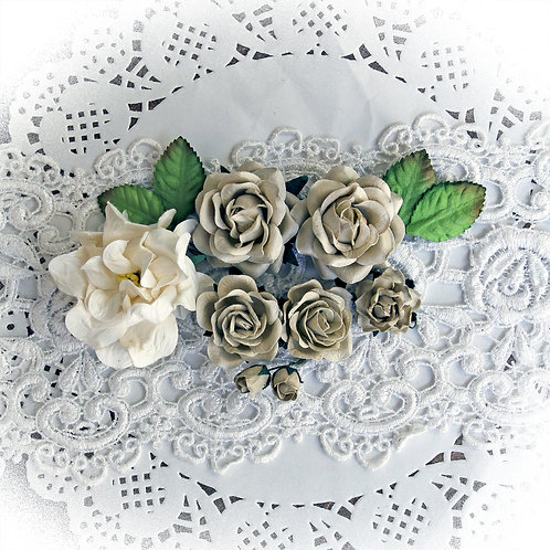 Antique Linen Roses, Gardenia And Leaves Flower Set