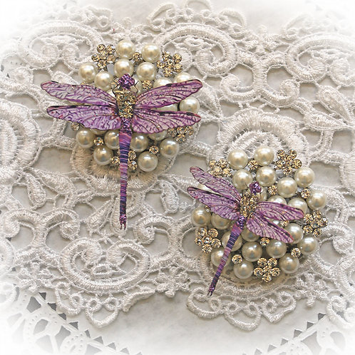 Suncatcher Purple Premium Paper Glitter Glass Dragonflies