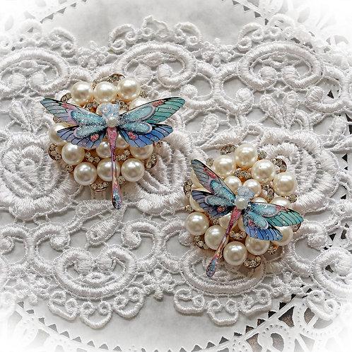 Fenton Art Glass Glitter Glass Dragonflies