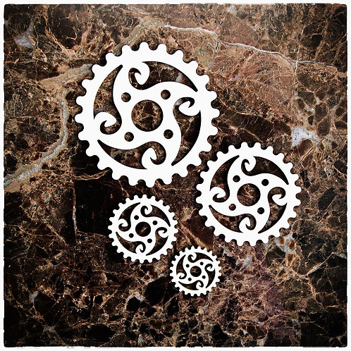 Beautiful Board Hardware Gears Set Of 4 Laser Cut Chipboard