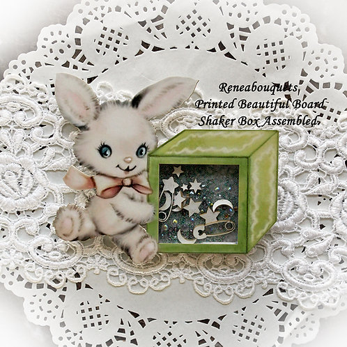 Printed Beautiful Board Baby Blocks Bunny Shaker Box Chipboard
