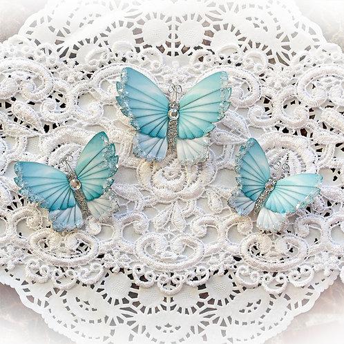 Winter Teal Sky Premium Paper Glitter Glass Butterflies