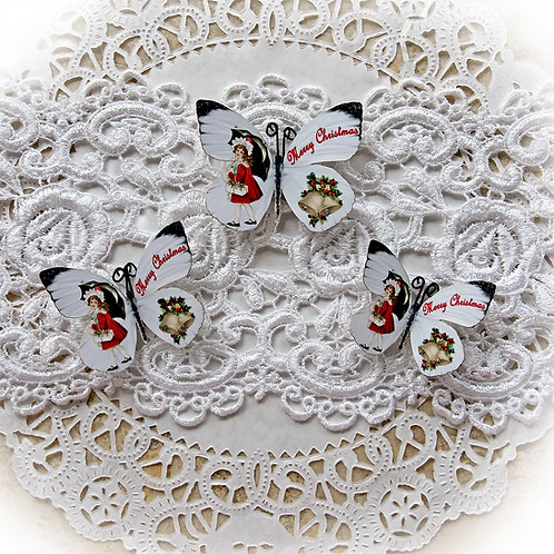 Merry Christmas Carol Premium Paper Butterflies