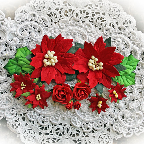 Christmas Red Mulberry Paper Poinsettias, Roses & Holly Leaves Flower Set