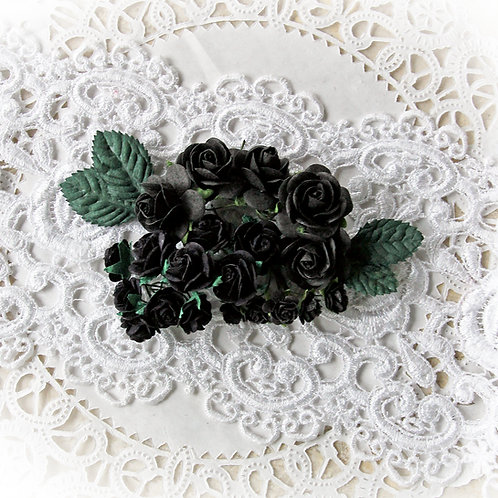 Mini Black Mulberry Paper Roses and Leaves Set