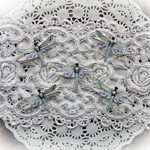 Tiny Treasures Shabby Blue Roses Premium Paper Glitter Glass Dragonflies