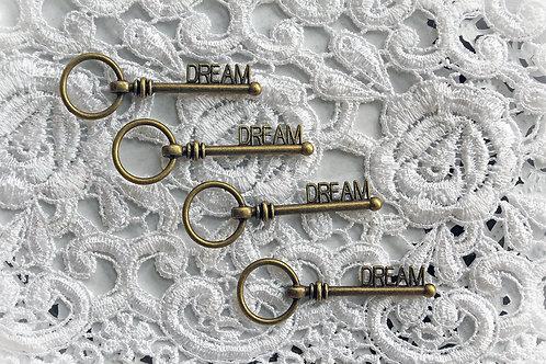 Key Set Of 4-Tarnished Brass Dream Metal Keys