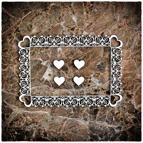 Beautiful Board Heart Deco Frame Laser Cut Chipboard
