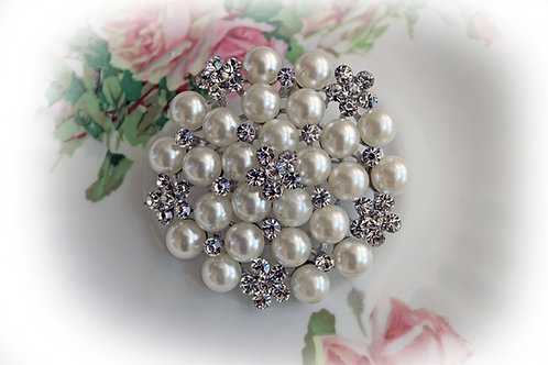 Silver Elegance Large Pearl &  Rhinestone Brooch