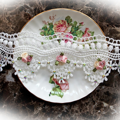 Garden Party Tea Rose Lace~White 2 3/4 Inch Wide
