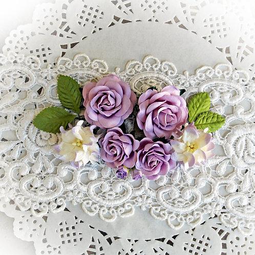Purple Roses And Gardenias Mulberry Flower Set