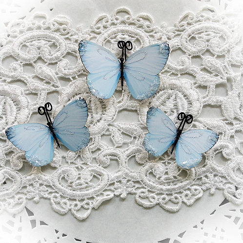 Darling Blue Glitter Glass Butterflies