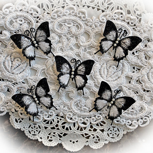 Tiny Treasures Black And White Premium Paper Glitter Glass Butterflies