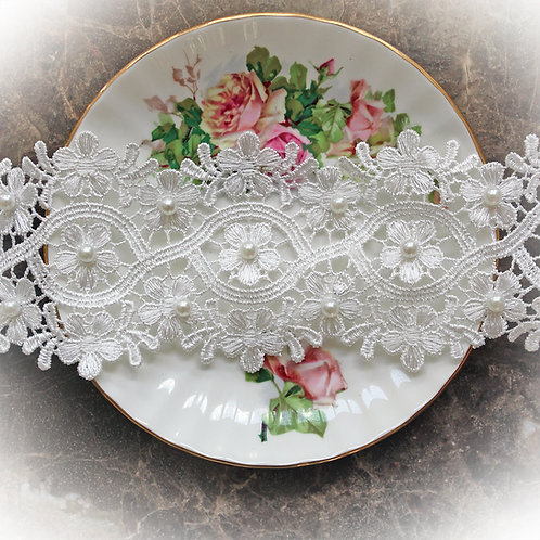 Junie's Blossoms Lace~ 3 1/4 Inch Wide White