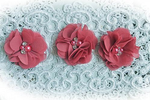 Sangria Pink Chiffon Pearl & Rhinestone Flowers