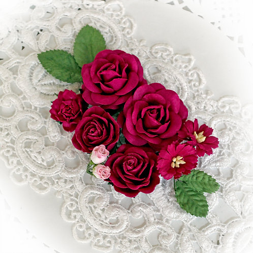 Celestial Pink Roses And Leaves Mulberry Paper Flowers