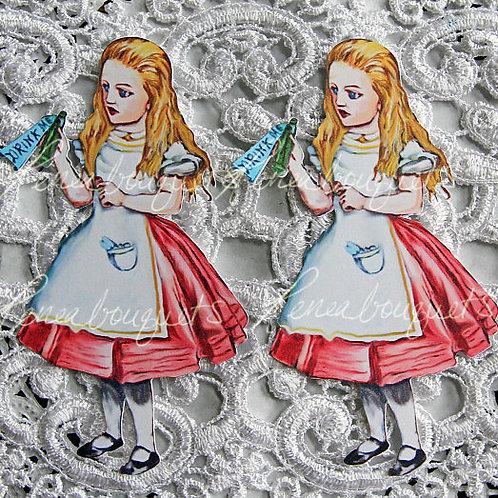 Watercolor Drink Me Alice In Wonderland  3 x 1 1/2