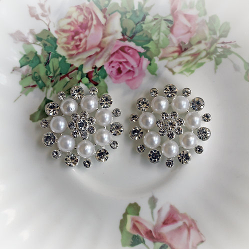 White Pearl And Rhinestone Button Set Of 2