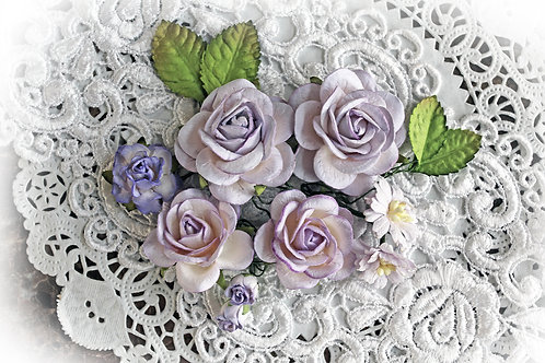 Purple & White Roses & Leaves Mulberry Flowers