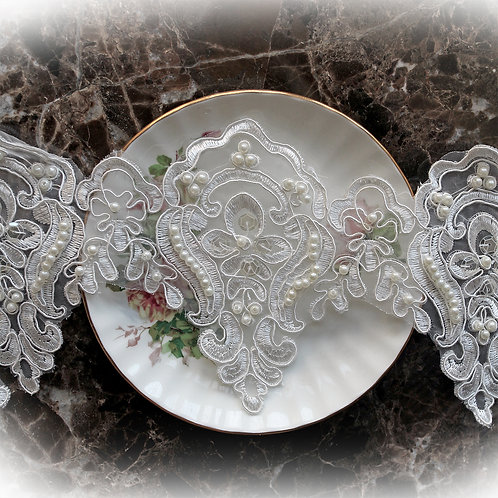Pearl Accented Wedding Day Lace~White 4.75 Inch Wide Voile