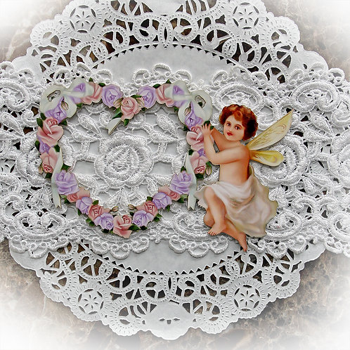 Beautiful Board Small Romance And Roses Purple Pink Heart Frame With Cherub