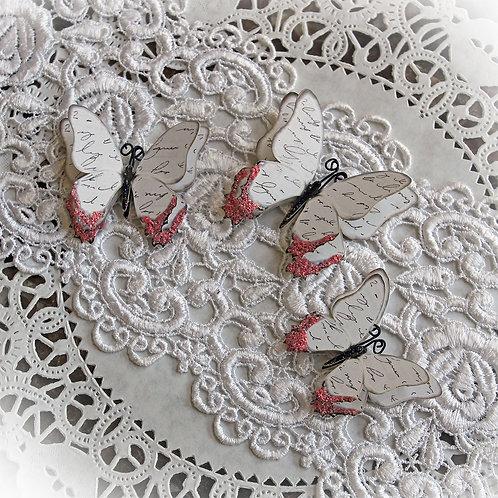 Vintage Romantic Script Double Layer  Premium Paper Butterflies